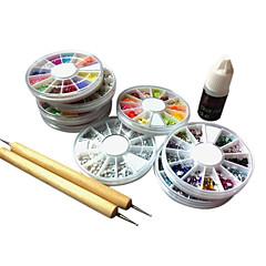 8PCS Wheel Nail Art Rhinestone Kit within 2 Dotting Tool & 1 Nail Glue