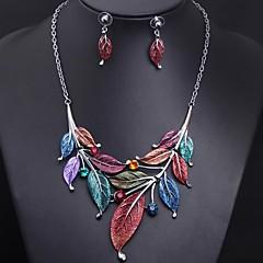 Women's Gemstone Leaf (Necklace&Earring) Jewelry Set