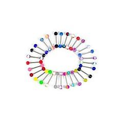 lureme®316l外科チタン鋼+ UVパターンへそリング舌スタッド(ランダムカラー)