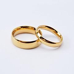 カップルリング チタン鋼 ゴールドメッキ 円形 シンプルなスタイル ファッション ブラック ゴールデン ジュエリー 日常 カジュアル