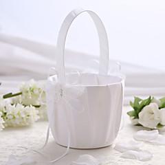 White Satin Wedding Flower Basket with Butterfly Design Flower Girl Basket