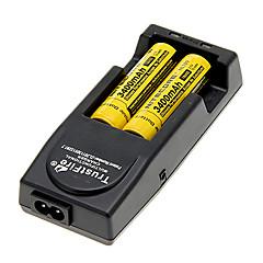 NITECORE NL189 3400mAh 18650 Batetry (2 pcs) + TR-001 Chargeur de batterie pour trustfire 16850/16340/14500 (pour 2 batteries)