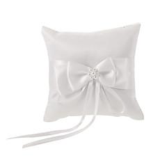 elfenben ring pude i hvid bowknot satin med imiteret perle