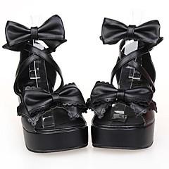 נעליים לוליטה קלאסית ומסורתית נסיכות פלטפורמה נעליים סרט פרפר 6 CM Black ל נשים עור פוליאוריתן