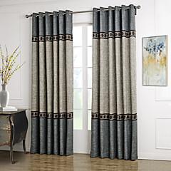 zwei Panele Neoklassisch Solide Blau / Grau Wohnzimmer Polyester Vorhänge drapiert