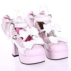 Sapatos Doce Princesa Salto Alto Sapatos Laço 7.5 CM Branco / Rosa Para Feminino Couro PU/Couro de Poliuretano