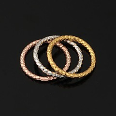 U7® New Round Triple Rings 3 Colors 18K Yellow Rose Gold Platinum Plated Band Rings for Women Promis rings for couples