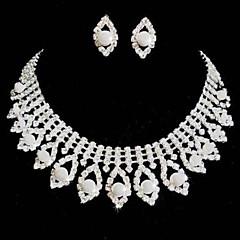 Conjunto de joyas De mujeres Boda / Fiesta Sets de Joya Perla / Aleación / Diamantes Sintéticos Diamantes Sintéticos Collares / Pendientes