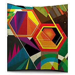 farverige geometriske polygon bomuld / hør dekorative pudebetræk