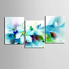 Leinwand-Set von 3 modernen abstrakten blauen Blumen Leinwand Druck fertig zum Aufhängen