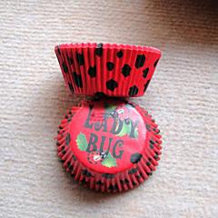 queque padrão joaninha vermelha wrappers-conjunto de 50