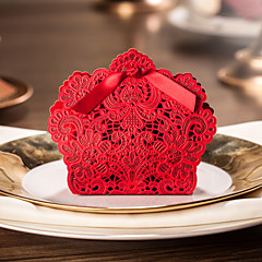 Scarlet Hollow Flowers Design Wedding Favor Boxes With Ribbon-Set OF 12