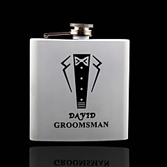 Gift Groomsman Personalized White Stainless Steel 6-oz Flask -Suit