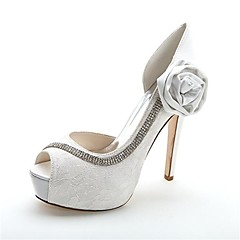 Women's Spring / Summer / Fall / Winter Heels / Peep Toe / Platform Satin Wedding / Party & Evening Stiletto Heel Crystal / Satin Flower