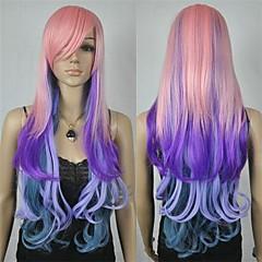 24inch kvinners nye sjarmerende mixe farge langt krøllete cosplay parykk rosa lilla og blått