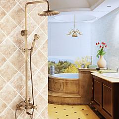Messing antik Badewanne Dusche Wasserhahn mit 8-Zoll-Duschkopf + Handbrause