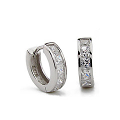S925 Fine Silver AAA Zircon Hoop Earrings for Men,Fine Jewelry