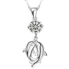 Double Dolphin Lovers Necklace With Cubic Zirconia
