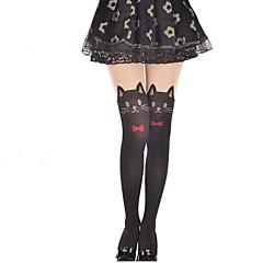 Meias e Meias-Calças Doce Lolita Princesa Preto Lolita Acessórios Meias Finas Laço / Cor Única Para Feminino Veludo