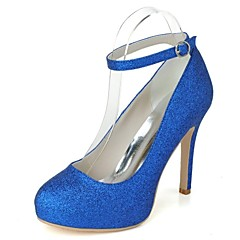 Women's Spring / Summer / Fall / Winter Heels / Platform / Round Toe Glitter Wedding / Party & Evening Stiletto Heel Lace-upBlue / Pink /