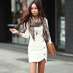 yuwinne női egyszínű gomb vékony ruha