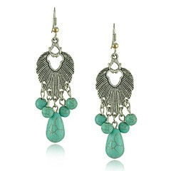 High Quality Antique Silver Jewelry Cute Leaf Shape Turquoise Drop Earring