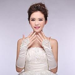 luvas de casamento de cetim sem dedos cotovelo elásticas