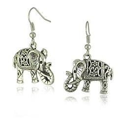 독특한 티베트어 실버 중공 조각 된 코끼리 다니다 패션 빈티지 귀걸이