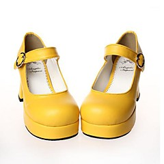 Lolita Shoes Sweet Lolita Lolita High Heel Shoes Solid 7.5 CM Black White Red Yellow For PU Leather/Polyurethane Leather