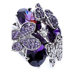 Tyylikkäät sormukset Zirkoni Cubic Zirkonia jäljitelmä Diamond Metalliseos Muoti Purppura Korut Party 1kpl