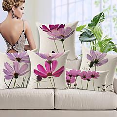 Baumwolle/Leinen Kissenbezug , Blumen Modern/Zeitgenössisch