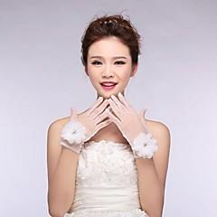 elfenben tyl fingerspidser håndled længde bryllup handsker med blomster med beading asg20