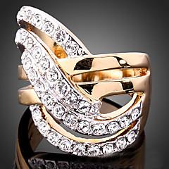 Maxi anel Zircônia Cubica Chapeado Dourado imitação de diamante 24K Plated Gold Liga Moda Cor Ecrã Jóias Festa 1peça