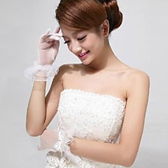 Ivory Tulle Fingertips Wrist Length Wedding Gloves with Ruffles with Bow ASG23