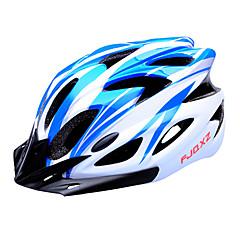 fjqxz 18 aberturas de eps + pc azul e branco integralmente-moldados capacete ciclismo (56-63cm)