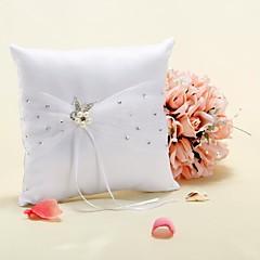 кольцо подушки в белый атлас с искусственной жемчужиной цветок и горный хрусталь