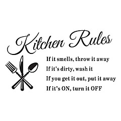 wall stickers Vægoverføringsbilleder, regler køkken engelske ord&citerer pvc wall stickers