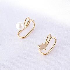 クリップイヤリング 真珠 合金 スター パールホワイト ゴールデン 1 # 2 # ジュエリー のために パーティー 日常 カジュアル