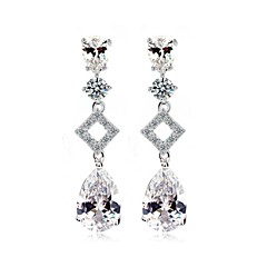 luxo excelente corte de zircão cúbico brincos gota longo design único bling bling brincos de cristal cz para as mulheres