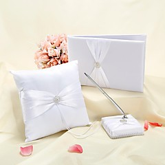 Elegant Wedding Collection Set in White Satin (3 Pieces)