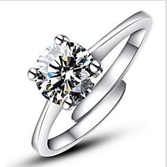 Dame Statement-ringe Forlovelsesring Kærlighed Justérbar Mode Åben Klassisk kostume smykker Sølv Simuleret diamant Firekantet symbol