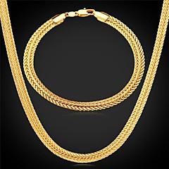 U7® Foxtail Chain Necklace Bracelet 18K Real Gold Plated Vintage Chunky Necklace Bracelet Fashion Jewelry Set