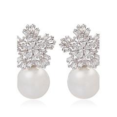 damer trendy smykker søt snø blomst og perle stud øredobber elegant flake form cz stud øredobber for kvinner