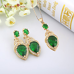 WesternRain Green Austrian Gem Drop 18K Gold Plated Necklace Pendant & Earrings Party Jewelry set