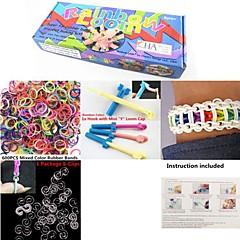 couleur arc-en-kit de métier de la mode bracelet bricolage (clips 600pcs bandes + 1 + 1 paquet de métier pension + 1 crochet)