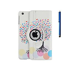 360 Degree Rotation Love Tree Pattern PU Leather Case with Stand and Pen for iPad 2/3/4