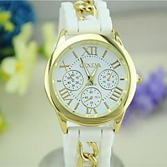 Women's European Style Fashion Newest Silicone Roman Numerals Geneva Silicone Wrist Watch
