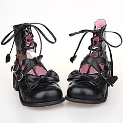 Lolita Shoes Sweet Lolita Lace-up Platform Shoes Bowknot 2.5 CM For PU Leather/Polyurethane Leather