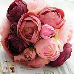 een boeket van 10 zijden doek simulatie rozen bruiloft boeket bruiloft bruid bedrijf bloemen, fushia