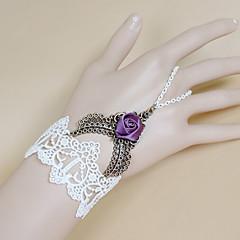Retro Gothic Punk Lace White Roses Bracelet Ring Set